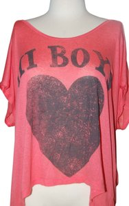 Cali Luv Screenprint Scoop Neck Knit T Shirt Coral