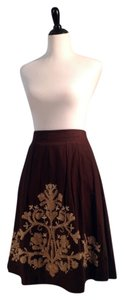 Ann Taylor LOFT Embroidered Natural Fibers Skirt Brown