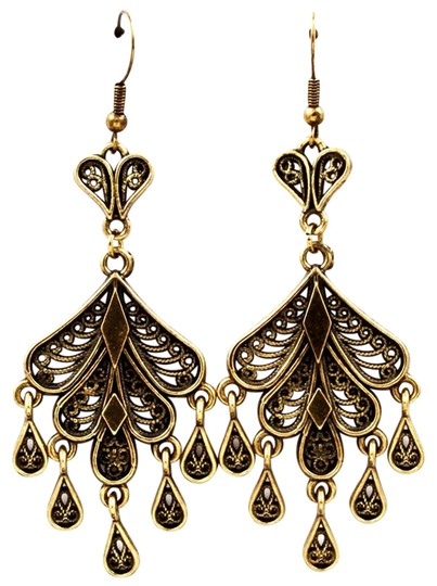 Other antiqued gold teardrop chandelier earrings