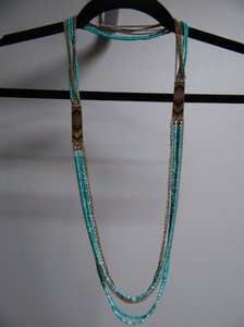 Payless Turquoise Beaded Necklace w/ Gold Accents