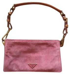 Prada Vintage Suede Small Clutch Shoulder Bag