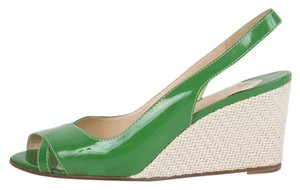 Christian Louboutin Patent Leather Peeptoe Green Wedges