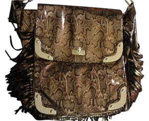 Christian Audigier Satchel in brown snake print