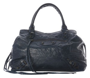 Balenciaga Marine Blue Leather Bg.j0514.13 Satchel