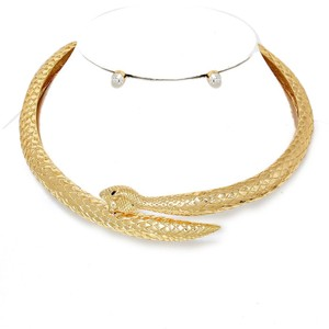 Other Vera Gold Plated Serpent Snake Collar Choker Necklace And Crystal Accent Stud Earrings