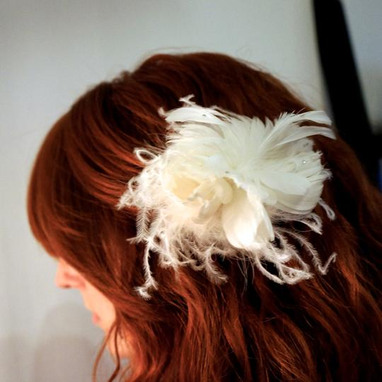 Erica Koesler White Feather Clip with Rhinestones Hair Accessory