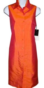 Finity Classic Shantung Silk Sleeveless Fully Lined New With Tags Button Front Dress