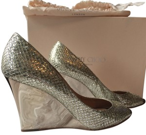 Jimmy Choo Glitter Sparkle Champagne Wedges