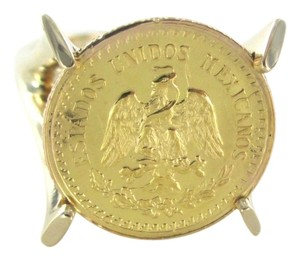 Other 14/22K SOLID YELLOW GOLD RING ESTADOS UNIDOS MEXICANOS 1945 COIN SZ 6 PESOS