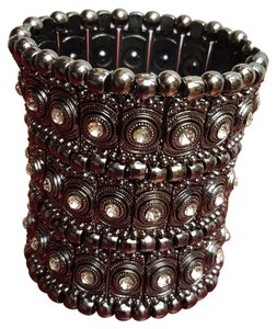 Amrita Singh New Wide Bohemian Gun Metal Stretch Bracelet From Amrita Singh