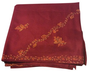 Sari Authentic Embroidered Wine Colored Sari Shawl From India