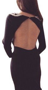 Elalu Los Angeles Lbd Beaded Beaded Cocktail Party Sexy Sophisticated Fitted Knee Length Dress