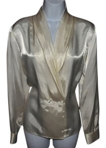 Barrie Pace Pleated Front Covered Buttons Long Sleeves Charmeuse Fabric Top Ivory