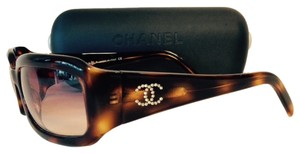 Chanel Chanel Crystal Logo Tortoise Shell Sunglasses With Case