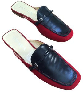 Prada Navy Red Mules