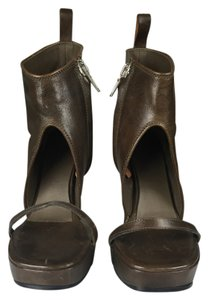 Rick Owens Leather Wedges Open Toe Designer Boots