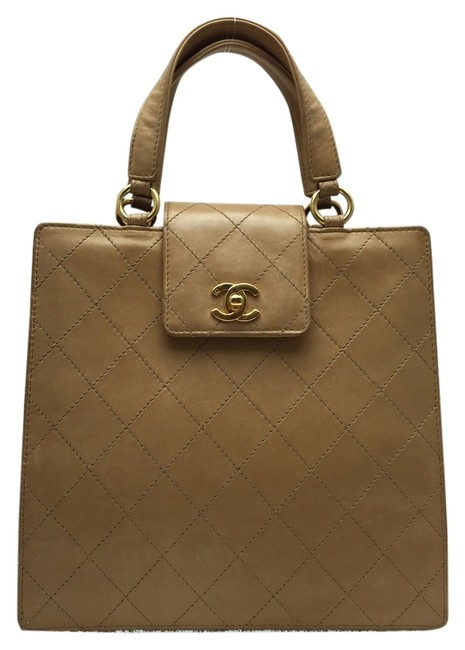 Item - Quilted Tan Leather Baguette