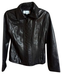 Calvin Klein Classic Leather Zipper Leather Jacket