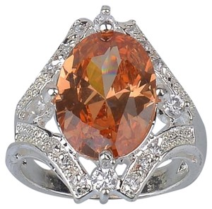 Other Costume Statement Fire Honey Topaz and White Topaz Set in Sterling Silver Statement Ring