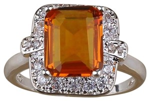 Other Cushion Cut Honey Topaz and White Topaz Set in Sterling Silver Statement Ring