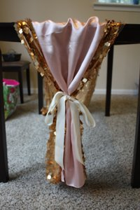 Gold Sequin Table Runner With Blush Overlay