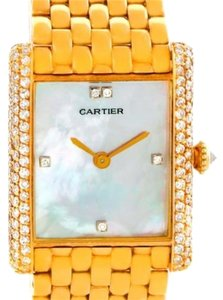 Cartier Cartier Tank Classic Paris Yellow Gold Mother Of Pearl Diamond Watch