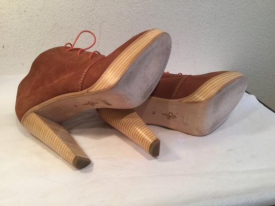 Cole Haan Lined PRICE REDUCTION Brown suede leather stack wood heels and platform tie ankle Boots