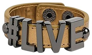 BCBGeneration BcbGeneration Hashtag Live Faux Leather PVC/Plated Metal Letter Fashion Bracelet