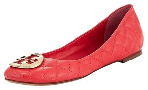 Tory Burch Logo Carnival Red Gold Flats