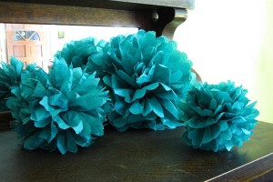 "Teal 15pcs - 4"" 8"" 12"" Mixed 3-sizes Green Tissue Paper Pom-poms Pompom Flower Party Home Indoor Outdoor Hanging Ceremony Decoration"