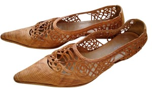 Dries van Noten Pointed Toe Woven Leather Tan Flats