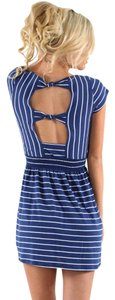 O'Neill short dress Navy and white stripes Summerdress on Tradesy