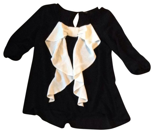Item - Black Color-blocking Workwear Chiffon Sheer Spring Fall Winter Casual White Blouse Size 4 (S)