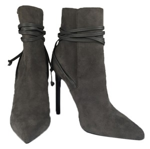 Saint Laurent Ankle Straps Ankle Strap Suede Gray New Celebrity Designer Fall A-list Pointed Toe Leather Straps Charcoal Boots