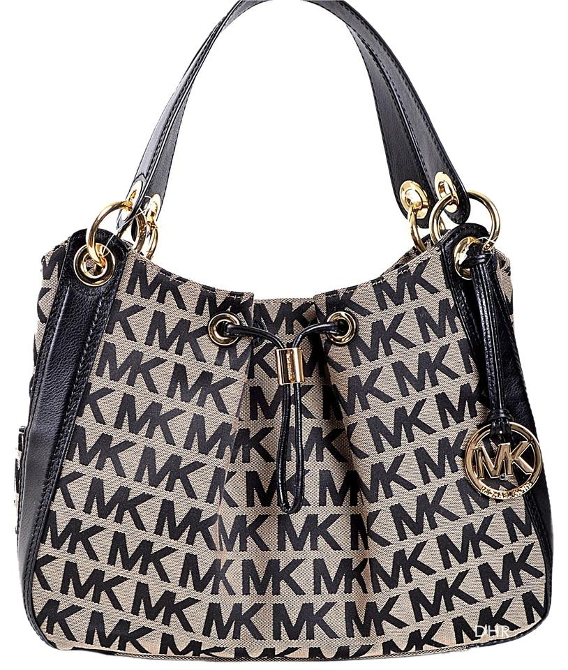 5021187612edba Michael Kors Ludlow Signature A3628e Beige/Black Jacquard/Leather Shoulder  Bag