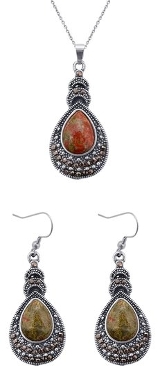 Unknown Unakite Earrings and Pendant With Chain