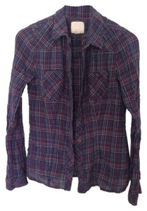 Quiksilver Shrit Shirt Red White Blue America American Flannel Flannel Button Down Shirt Plaid