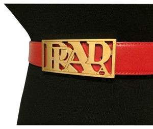 Prada Prada Red Leather Belt With Gold Tone Prada Logo Buckle