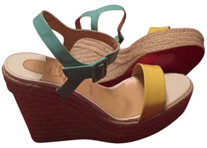 Christian Louboutin Yellow/ turkoise Wedges