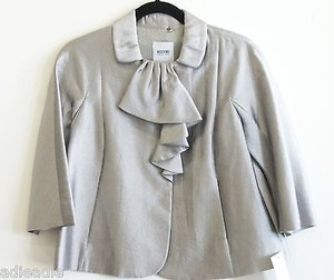 Moschino Moschino Cheap And Chic Silver A-line Jacket With Ruffle Collar Or