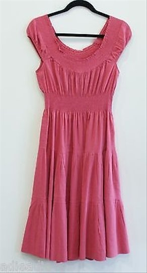 5e4250fecdd lovely Theory Haldena Crunch Rose Dress Cinched Empire Waist Model B0403618