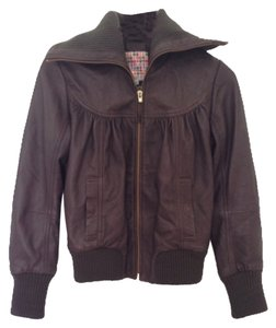 Roxy Skin Brown Lamb Leather Jacket