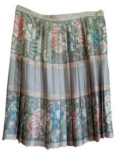 Neiman Marcus Silk Pleated Skirt Soft pastels, grey and pink