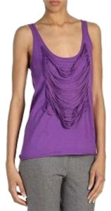 Yigal Azrouël Fringe Sweater Top Purple