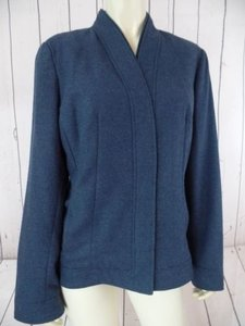 Coldwater Creek Coldwater Creek Coat Blazer Wtag Funnel Neck Blue Herringbone Chic