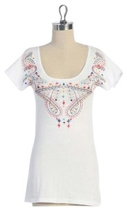 Anthropologie Hazel Knit Embroidered Top WHITE