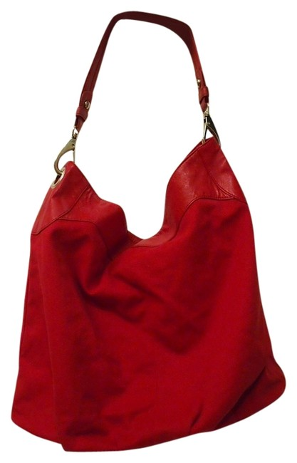 Item - Bucket Bag Red Cotton / Pleather Tote