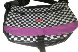 Dickies black/white checker with purple Messenger Bag
