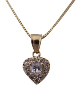 Other 14K Solid Yellow Gold CZ Heart Pendant
