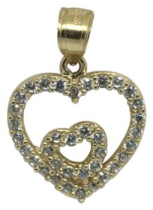 Other 14K Solid Yellow CZ Double Heart Pendant